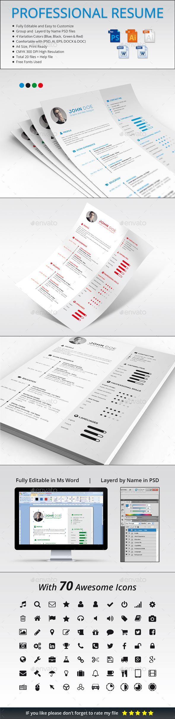 Professional Resume Template PSD, Vector EPS, AI design