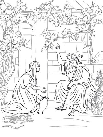 Elijah and the Widow of Zarephath Coloring page | pattern ...