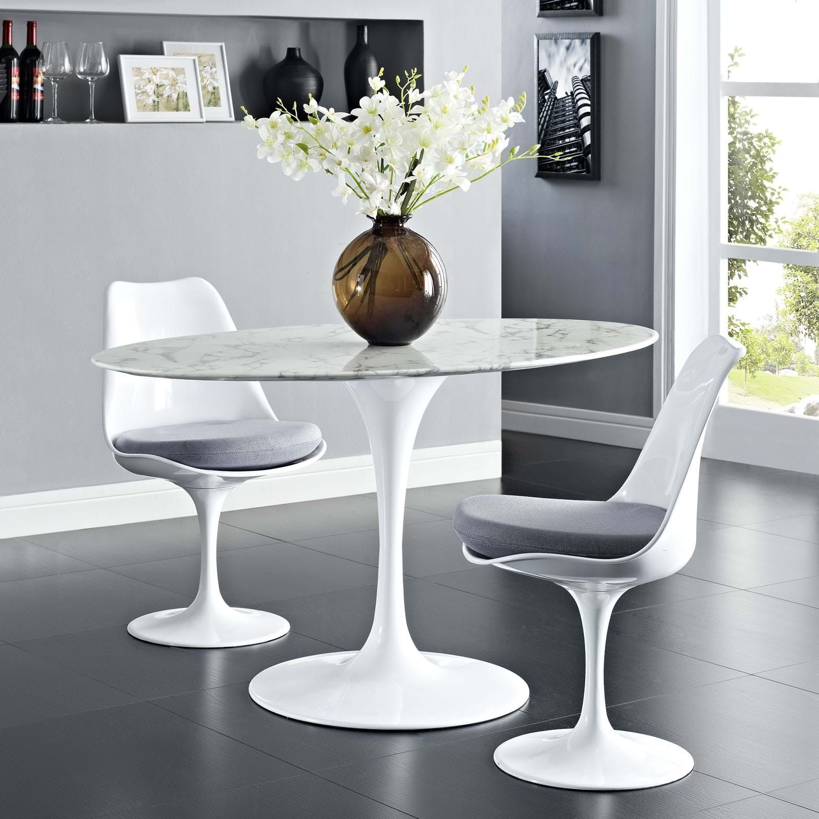 Modway Lippa 54 Oval Artificial Marble Dining Table White