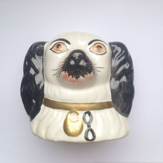 Vintage reproduction Staffordshire pottery spaniel dog money box / piggy  bank