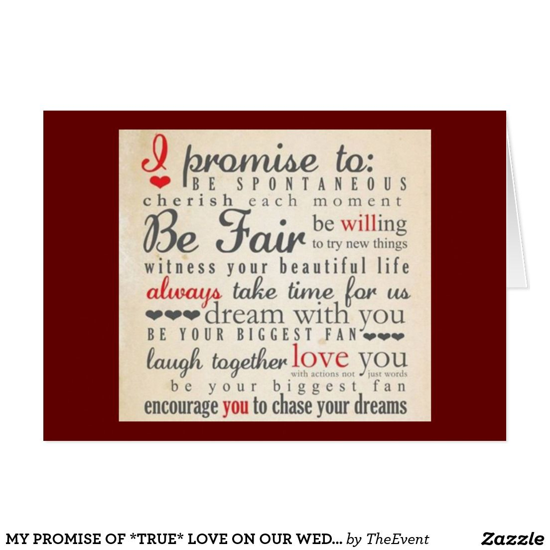 My promise of *true* love on our wedding day card | CARDS/PRODUCTS ...
