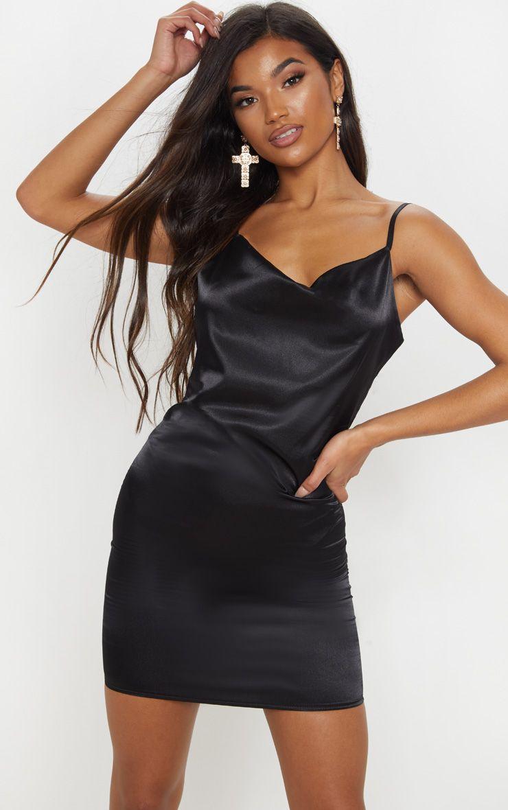 ba899b31114 Black Cowl Satin Bodycon Dress in 2019 | Products | Satin bodycon ...