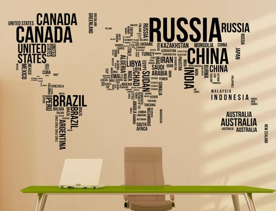 Large world map wall decal letters world map with countries wall large world map wall decal letters world map with countries wall decal travel stickers living gumiabroncs Gallery