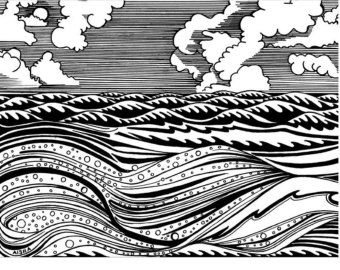 Pics For > Waves Drawing Black And White | drawing