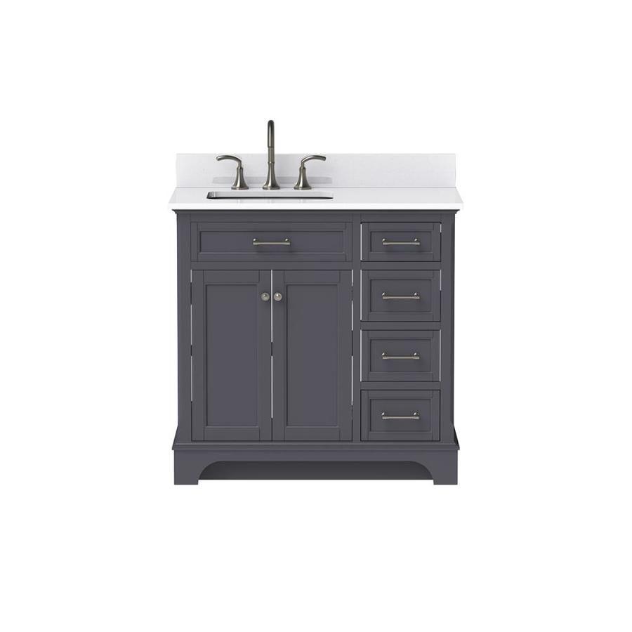 Scott Living Roveland 36 In Dark Gray Single Sink Bathroom Vanity With Terrazzo Engineered Stone Top Lowes Com Single Sink Bathroom Vanity Engineered Stone Bathroom Vanity