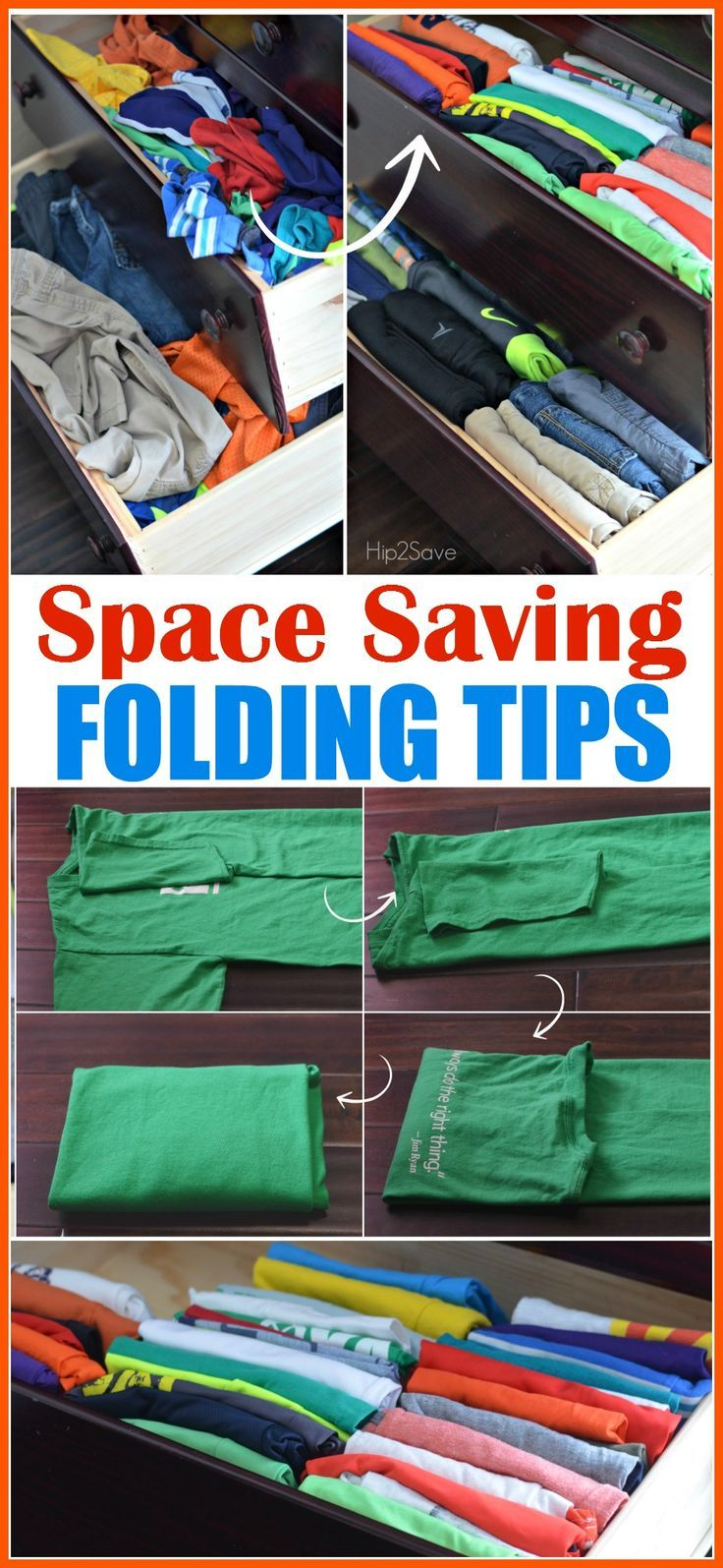how to fold clothes to save space organizing tip using konmari