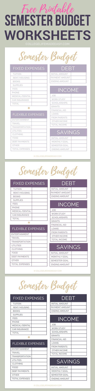 student budgeting worksheets