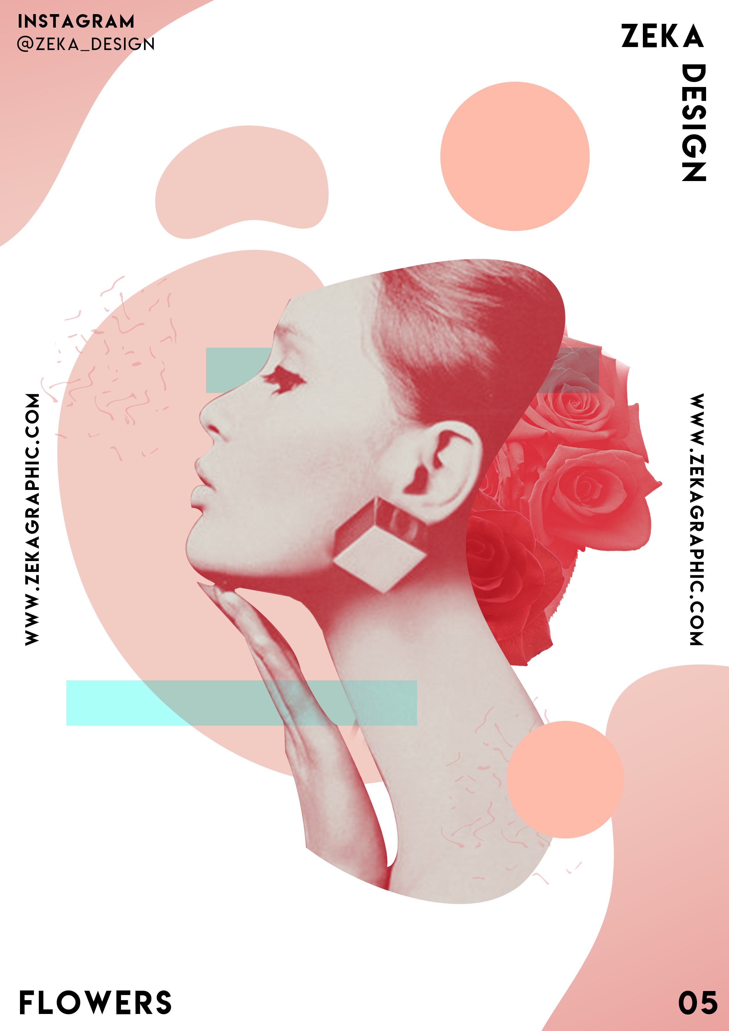 Minimalist And Creative Poster Design Art Flowers Collection 05 Rose Zeka Design Girly Graphic Design Abstract Graphic Design Digital Art Poster