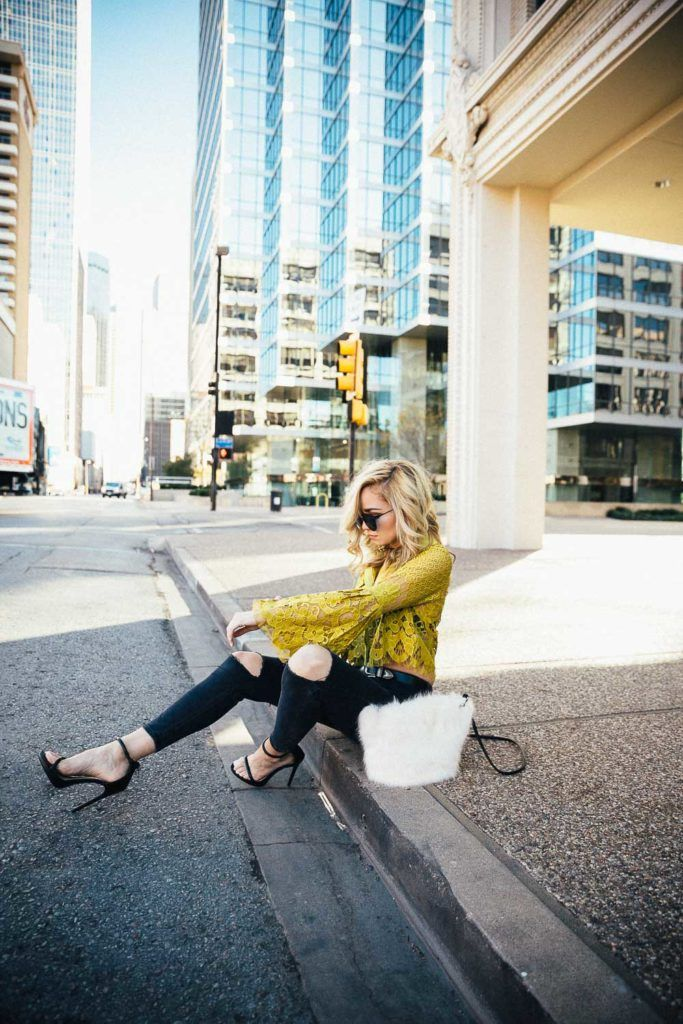 Mustard lace top with bell sleeves paired with topshop black denim and strappy black heels