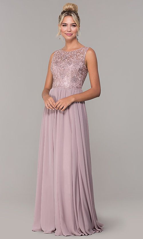 Embroidered Long Chiffon Prom Dress - PromGirl