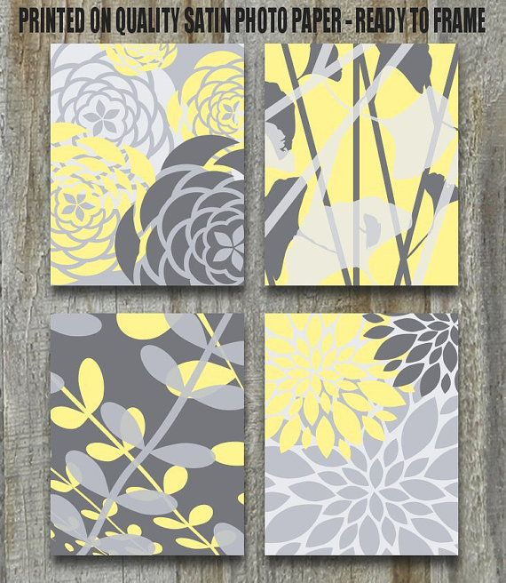 yellow and gray art print set of four flowers and botanical