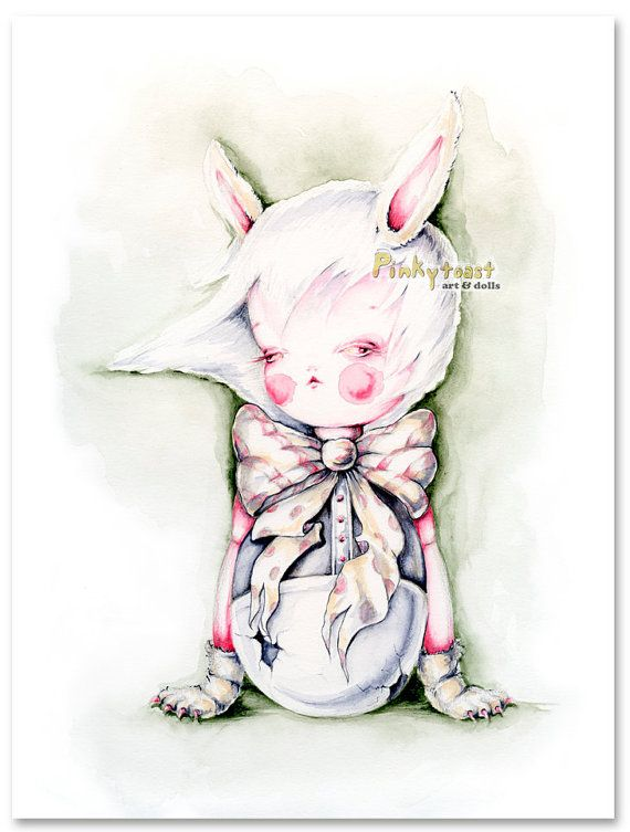 Original PaintingGothic Easter Bunny Egg Girl in by pinkytoast, $109.00