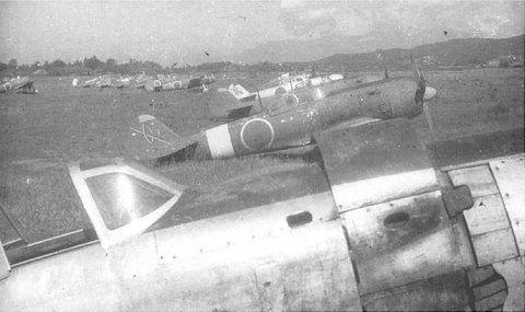 Ki-84's of the 104th Sentai, Ozuki Airfield, Japan, late 1945.