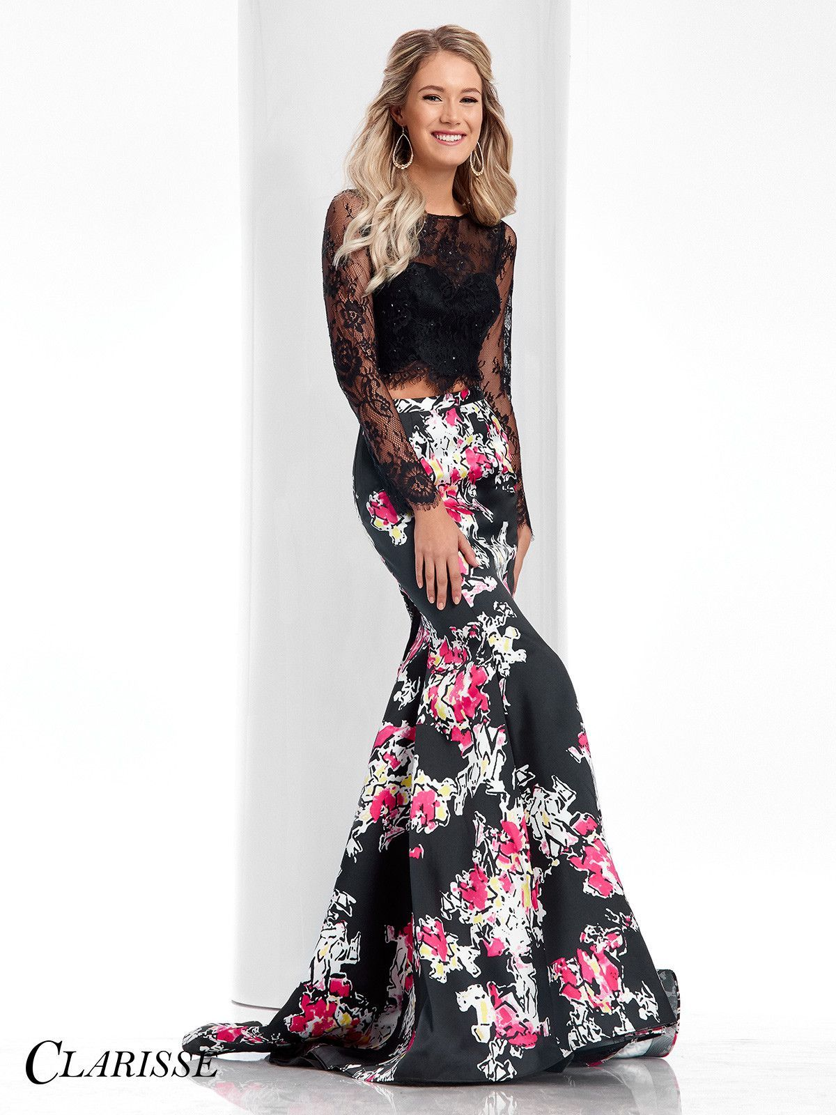 Clarisse prom blackprint long sleeved twopiece prom dress