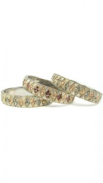 Hand-Set Austrian Crystal Champagne and Amber Diamond-Shaped Bangle Set of 3