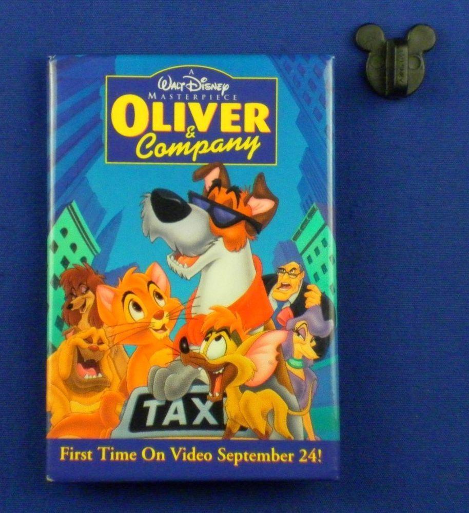 Disney BUTTON Oliver & Company Video Release Dodger Tito Georgette # 18220