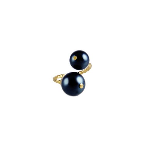 Double Bypass Pearl Ring Gold with Black Pearl