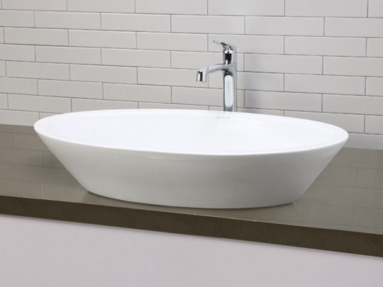Ceramic Bathroom Vessel Sinks White Large Deep Oval Ceramic Vessel Sink  With Overflow