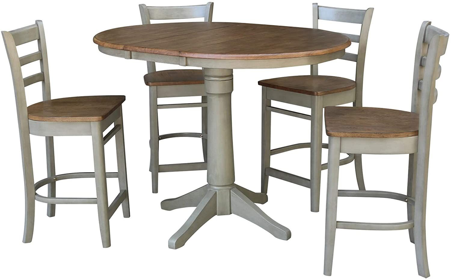 Misc 36 Round Extension Dining Table With 4 Counter Height Stools