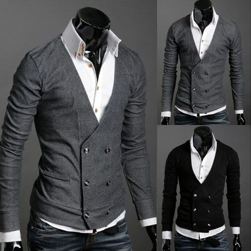 db cardigan and high-collar shirt.