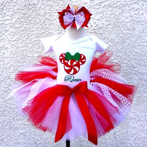 Personalized Peppermint Minnie Christmas Tutu Outfit For Girls  http://www.tutusweetshop. - Pin By My SEO Gal On Kids Holiday Clothing Pinterest Christmas