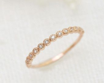 Matching Scalloped Diamond Wedding Ring Vintage Inspired