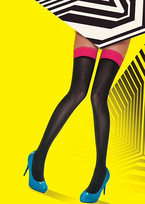 68900773cf3 Pretty Polly Allsorts Coloured Top Hold Ups with pink top