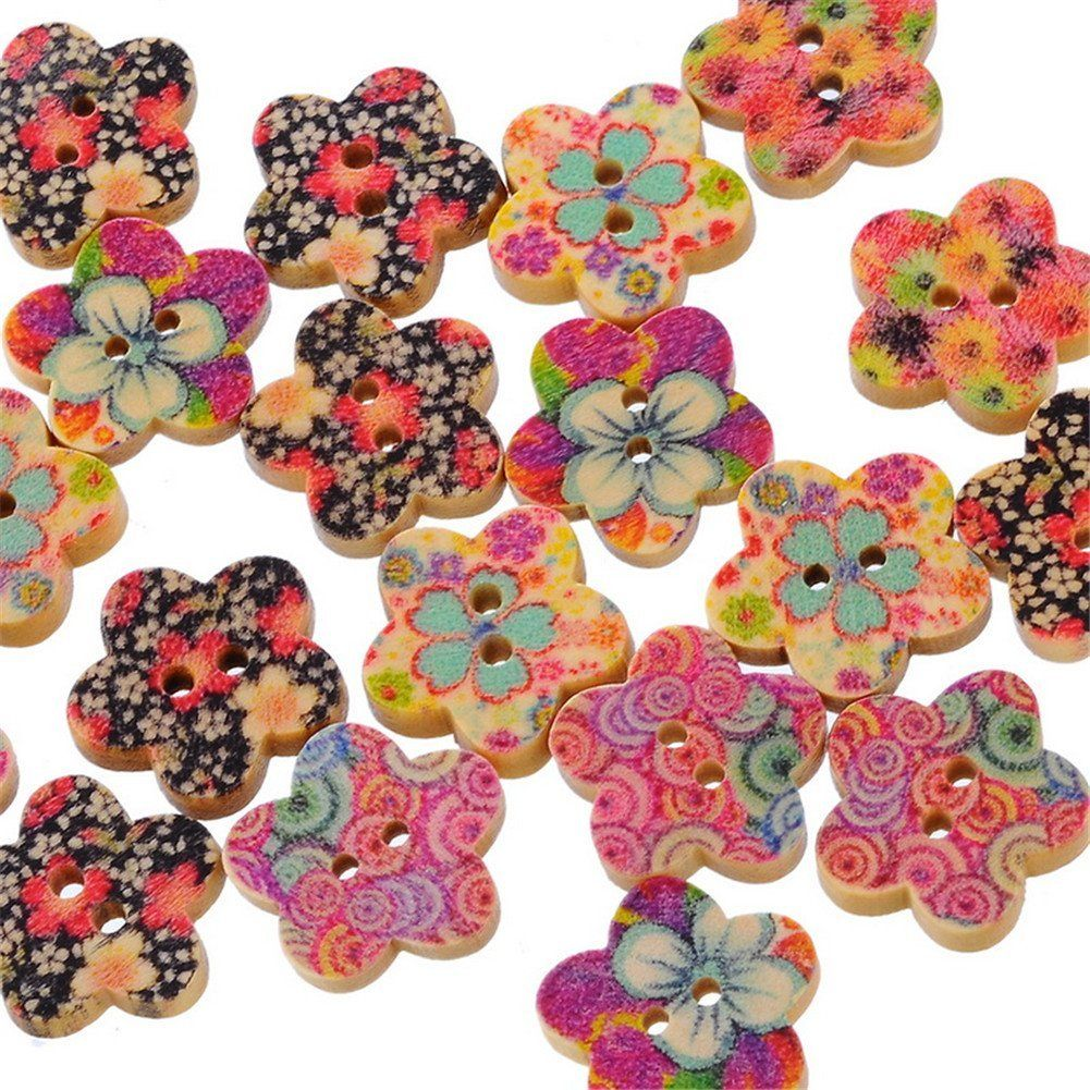 ZARABE 100 Mixed Flower Wood Sewing Buttons Scrapbook 17x17mm ** Read more at the image link.