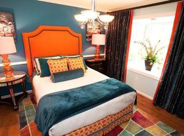 teal and orange bedrooms | Orange and Teal Guest Bedroom ...
