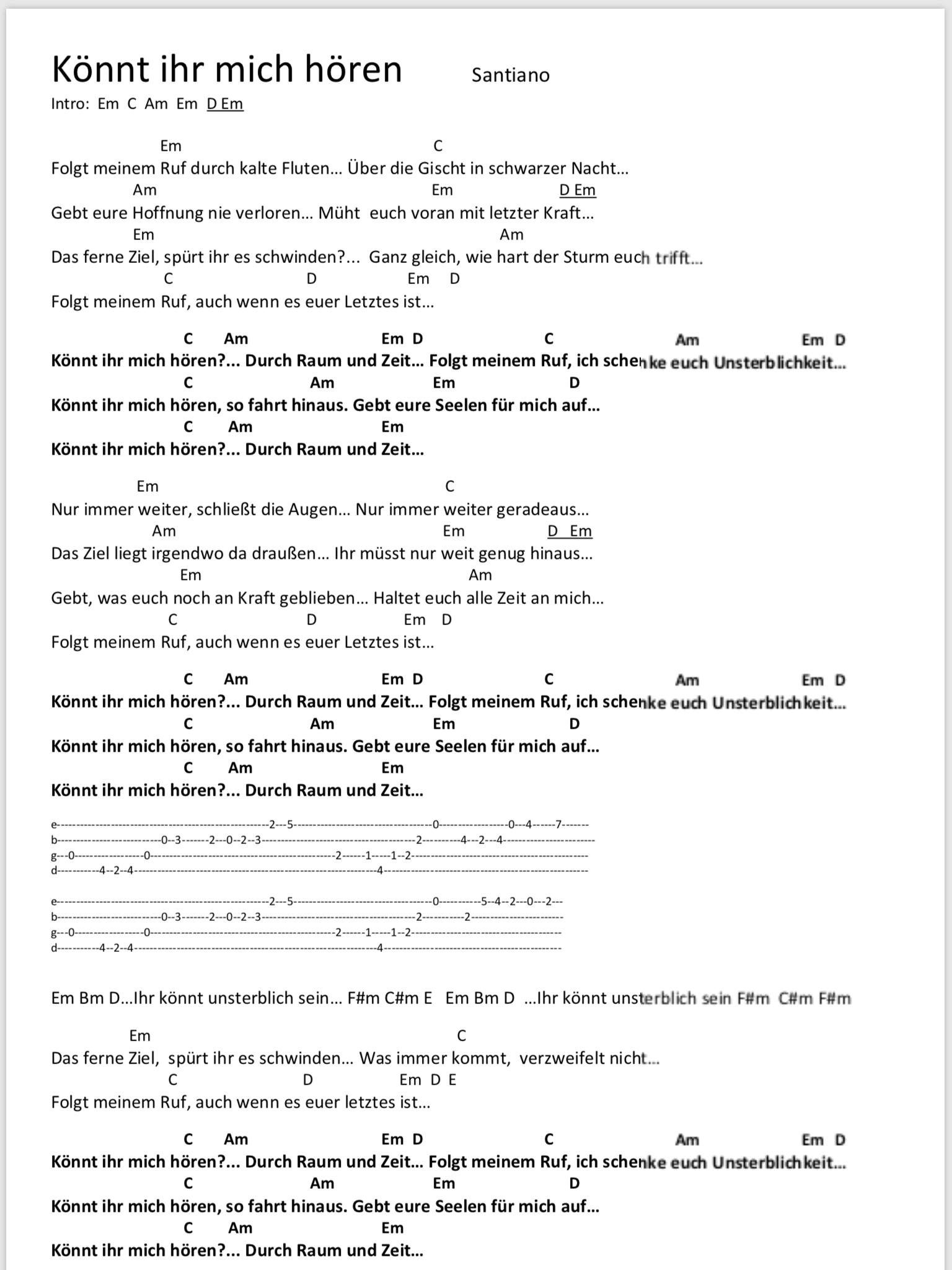 Konnt Ihr Mich Horen Songtext Und Akkorde Gitarre Lieder Gitarren Akkorde Songtexte