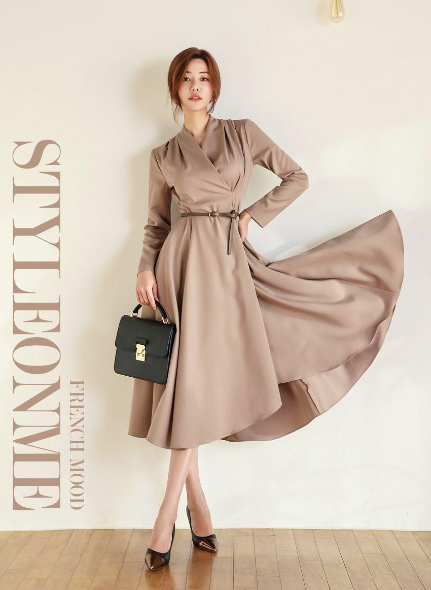 belt set wrap flared dress ラップ ワンピース フレアドレス ファッションアイデア