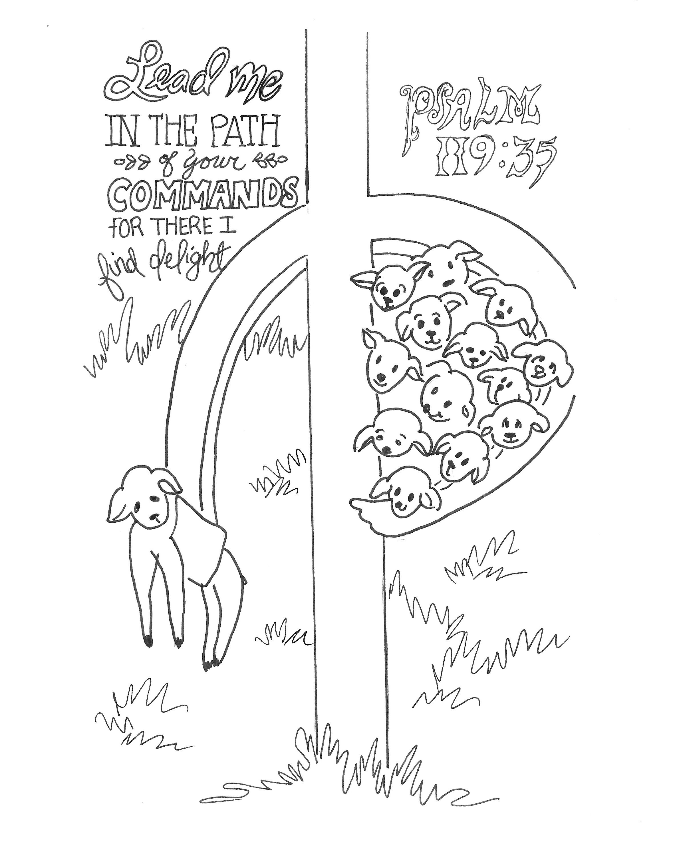 Psalm 119:35 Printable Free 8x10 Coloring Devotions to