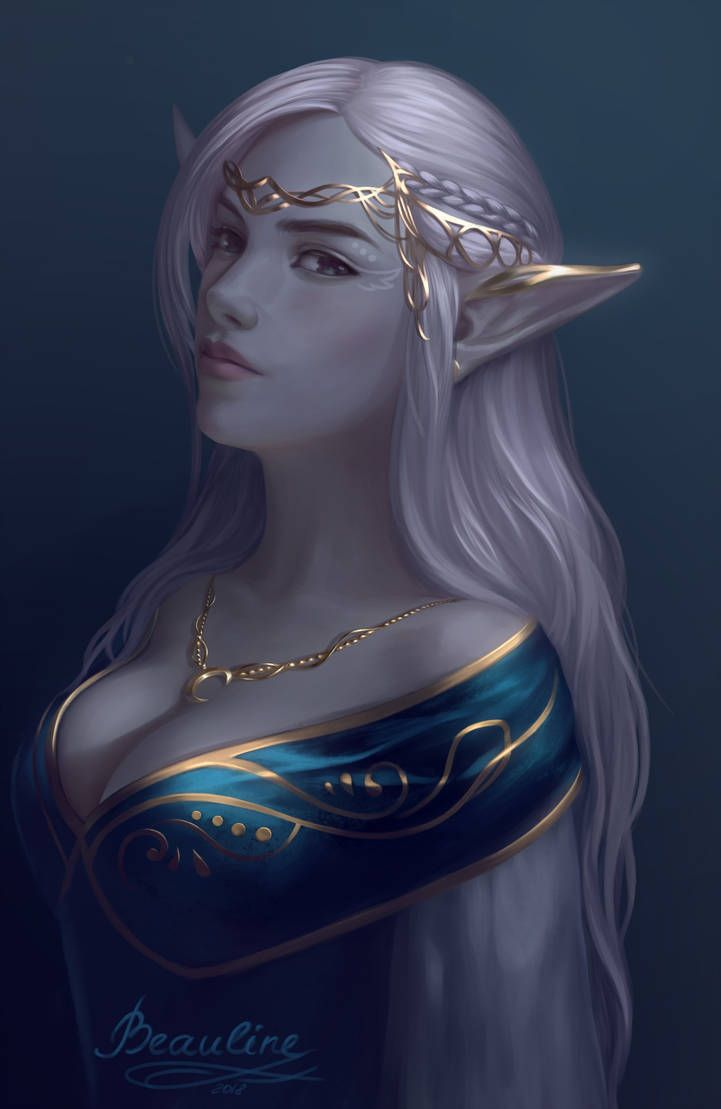 f Drow Elf Sorcerer Robes Crown urban City undercity Tower upper worlder portrait by Beauline DeviantArt
