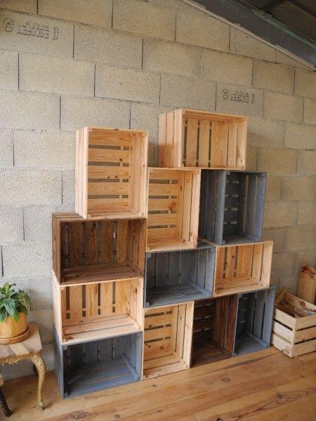 caisses en bois par peiot craft armario de caixote decora o com caixote y caixotes decorados. Black Bedroom Furniture Sets. Home Design Ideas