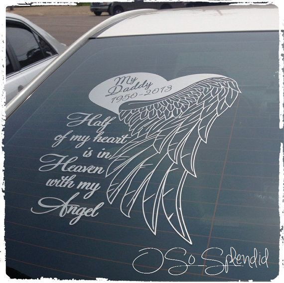 Memorial Tattoo Heart With Wings And Quote: Half My Heart Is In Heaven With My Angel Large By