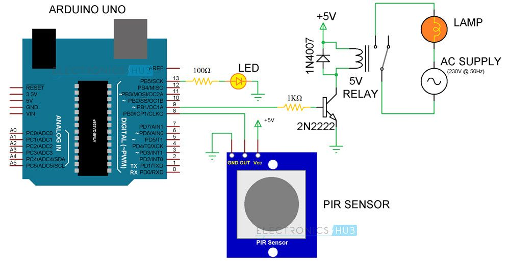 automatic room lights using arduino and pir sensor circuit diagram rh pinterest com Motion Sensor Light Diagram 12V Programmable On Off Switch Circuit