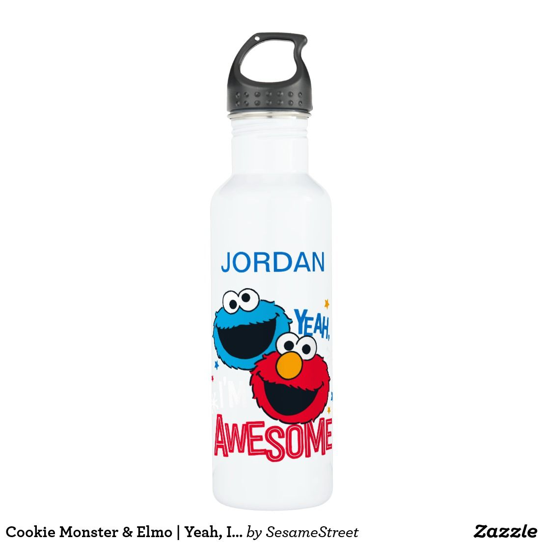Personalized Sesame Street Oscar the Grouch Water Bottle Gift Add Childs Name