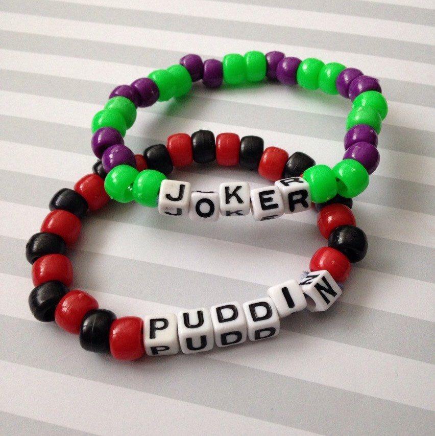 The joker and harley quinn set of 2 kandi bracelets by for Harley quinn and joker jewelry