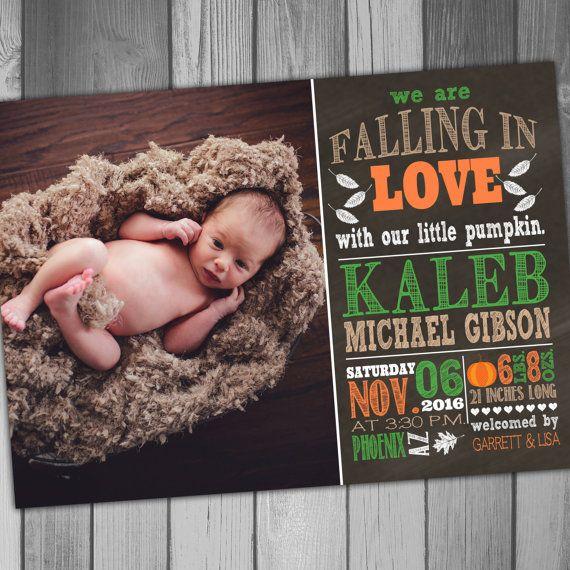 Birth Announcement Baby Boy Baby Girl Boy Birth Girl Birth Fall – Fall Birth Announcements