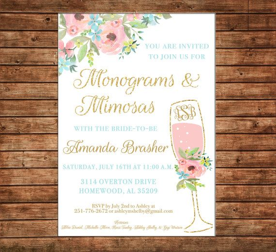 1cbfada88801 Invitation Watercolor Monograms Mimosas Watercolor Floral Shower ...