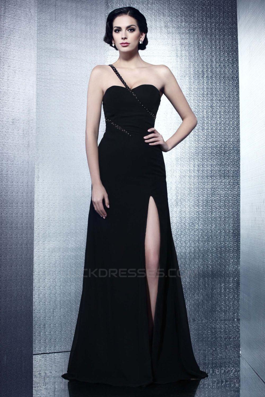 Sheath/Column One-Shoulder Long Black Chiffon Prom Evening Party Dresses 02020978