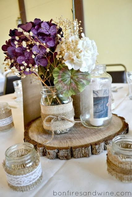 Bonfires And Wine Bries Rustic Wedding Ok The Baby Food Jars W Burlap Pretty Nice For Votives