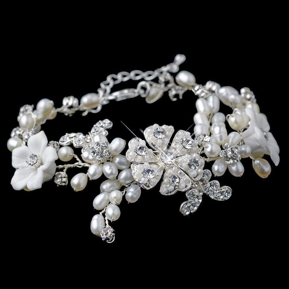 Silver Clear Rhinestone & Freshwater Pearl Flower Bracelet 9301