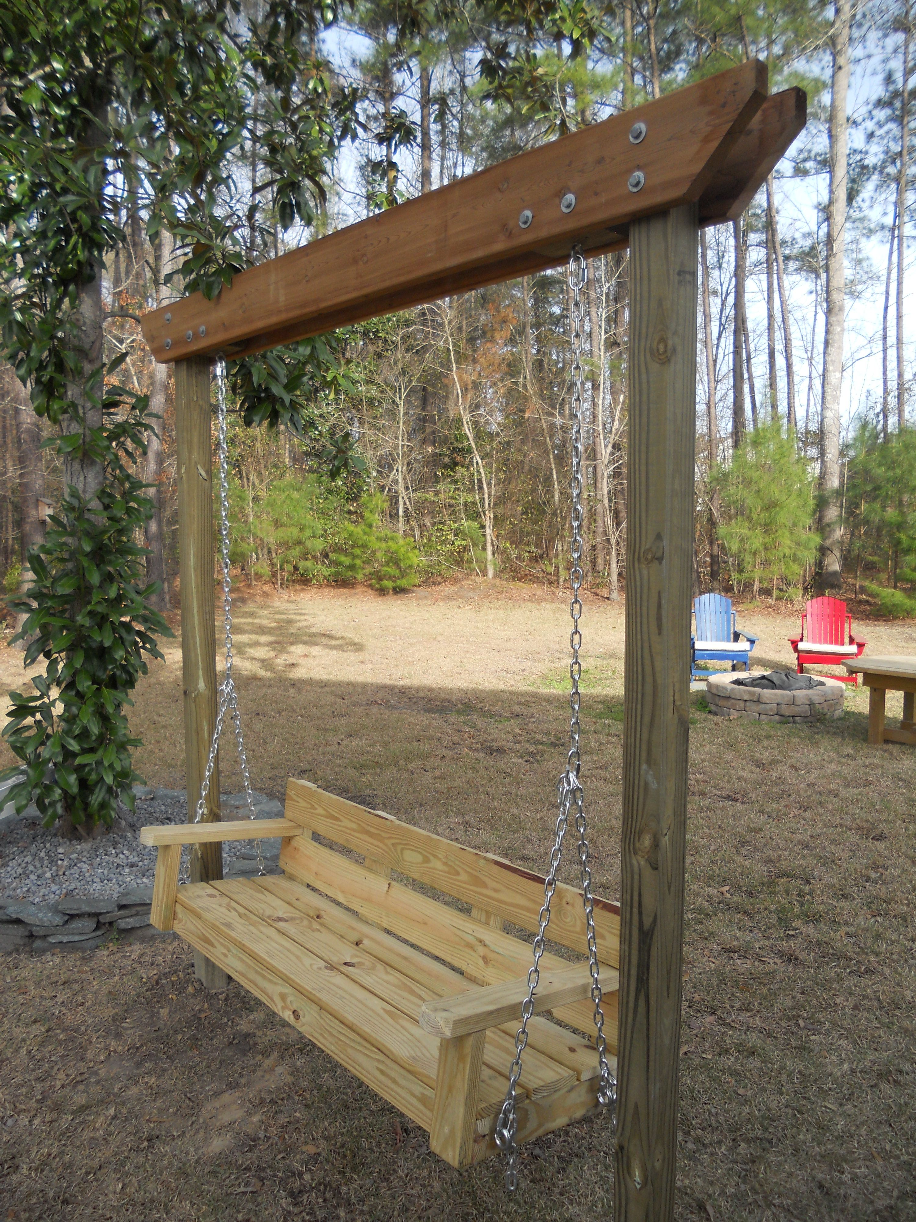 Ana White modified bench swing DIY Projects Garden