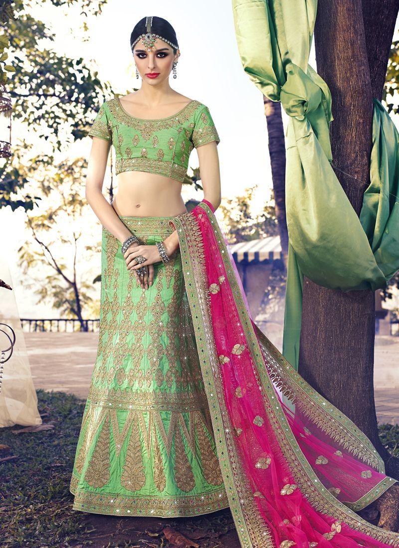 Shop Angelic Net Green Zari Work A Line Lehenga Choli Bridal/wedding wear lehenga online from India with free worldwide shipping offer