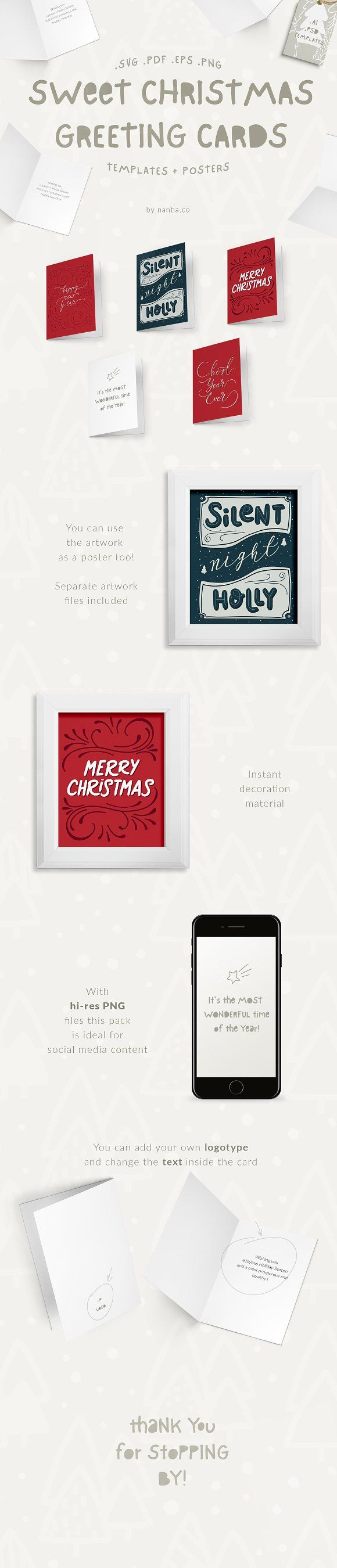 Sweet Christmas Cards & Posters This Christmas set is a pack of 5 ...