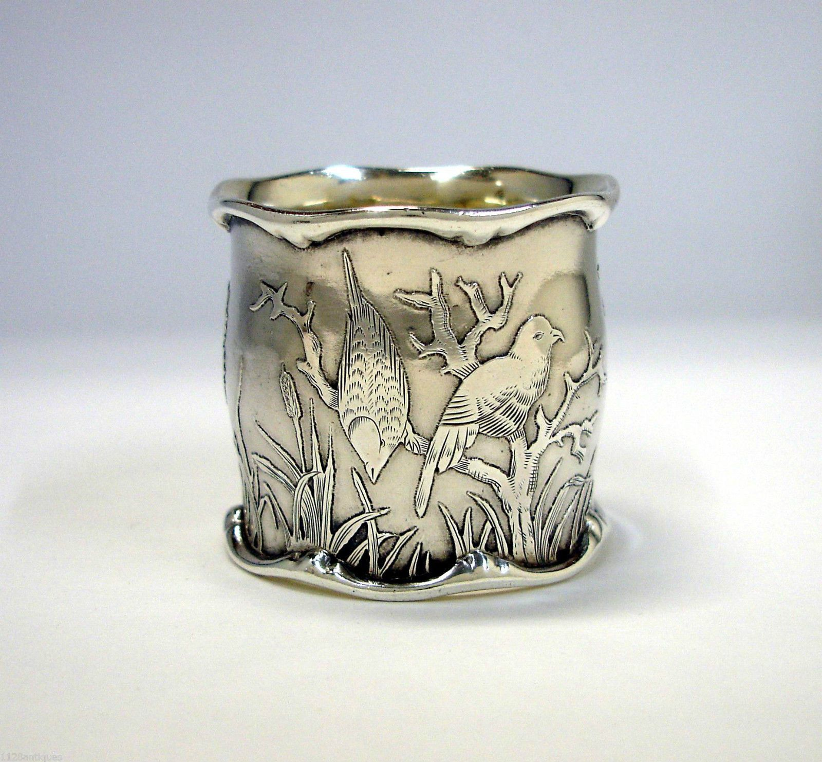 Magnificent Antique Etched Engraved Sterling Silver Napkin Ring Birds Flowers Ebay Rings