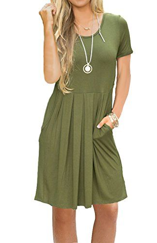 34bf5998a54 ... T  san francisco c9b26 2bd3a AUSELILY Womens Casual Loose Swing dress  with Pockets.