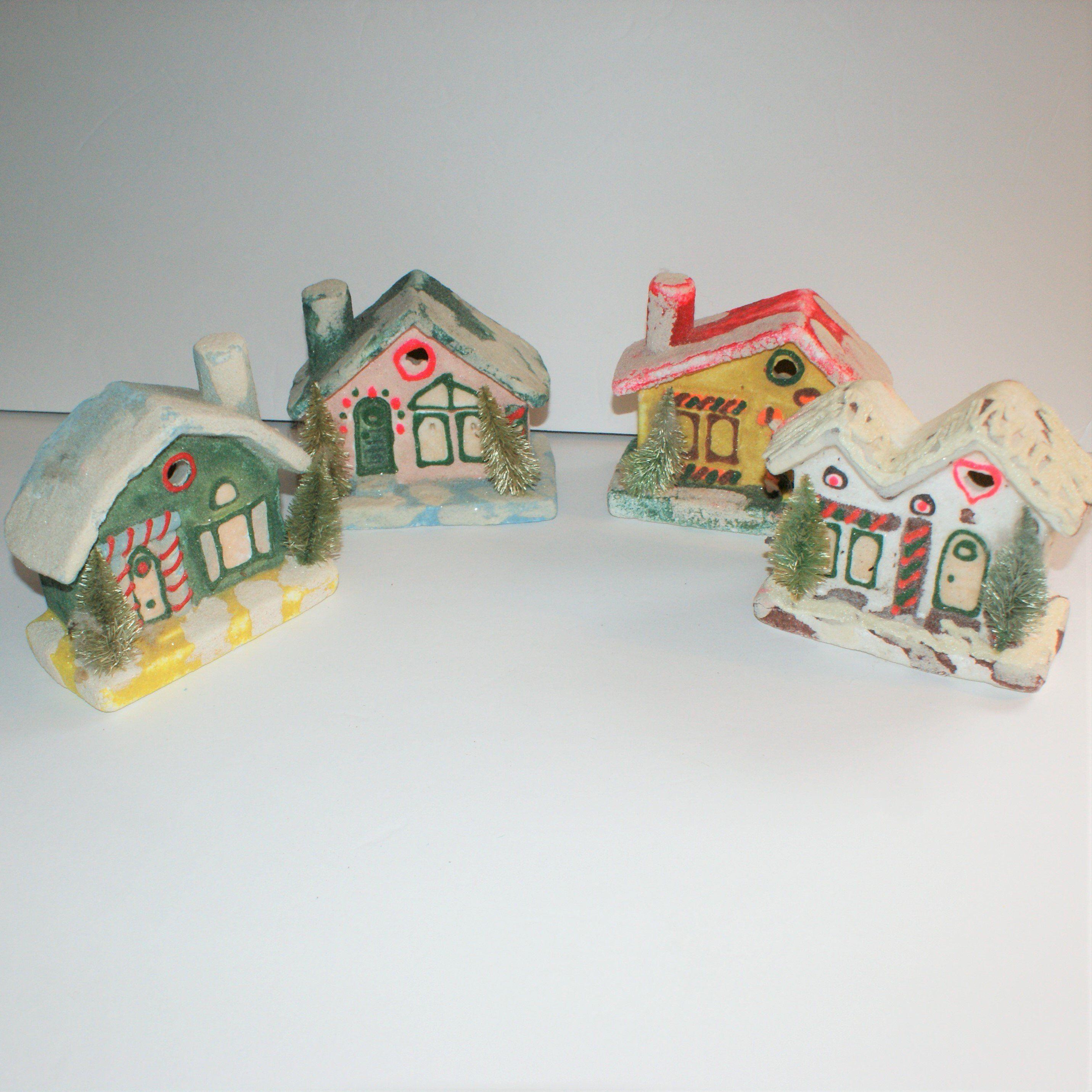 Vintage Village House Lot Of 4 Glitter Paint Foam Bottle Brush Etsy Glitter Paint Bottle Brush Trees Vintage Birthday Cards