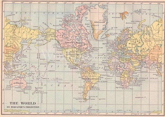 World map printable digital download high resolution originally world map printable digital download high resolution originally issued in 1930s printable blue and pink pastel color vintage style gumiabroncs Gallery